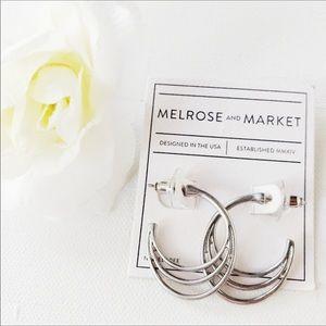 NWT Melrose & Market Silver Triple Loop Hoop Ear